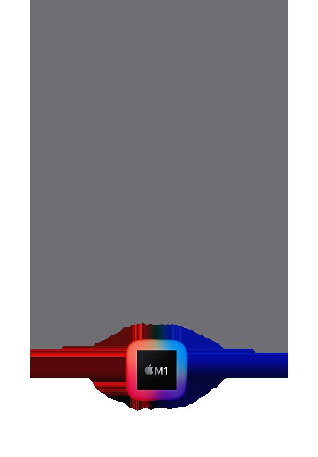 Apple M1チップの驚異的なパワー、内蔵。