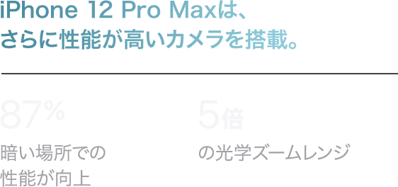 iPhone 12 Pro                 Maxは、さらに性能が高いカメラを搭載。