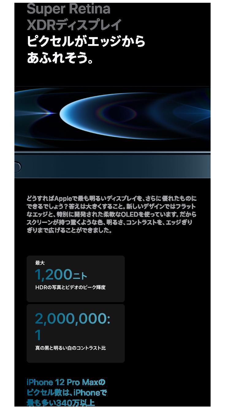 Super Retina XDRディスプレイ ピクセルがエッジからあふれそう。